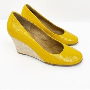 AEROSOLES Plum Tree Yellow Leather Wedge Heel